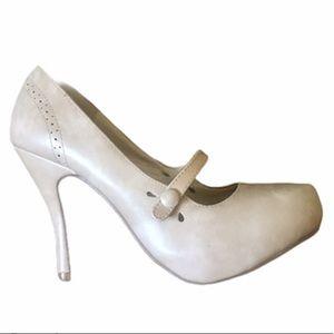 Flourish Nude 50's Pin Up Mary Jane Heels